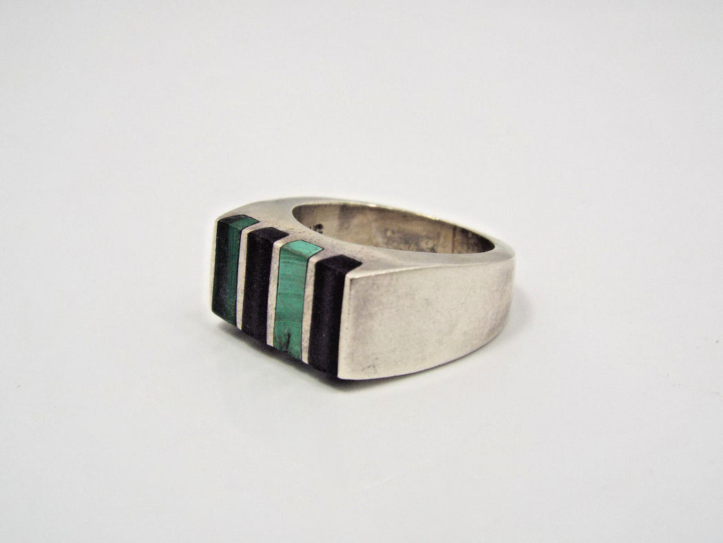 Queer Butch Masculine Lesbian Ring - Tidal Ring with Onyx and Malachite stripes - Side Angle