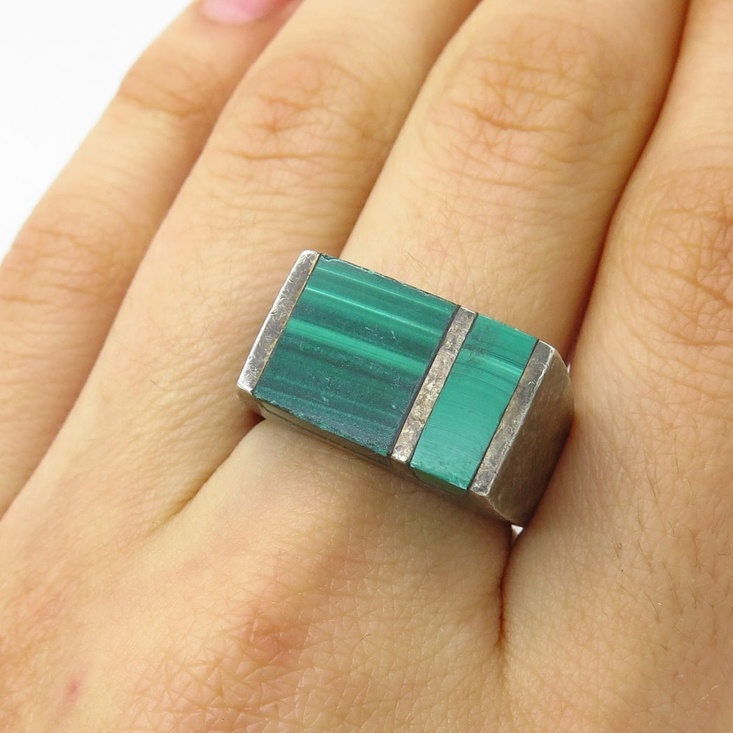 Queer Masculine Woman_Malachite Oceans Ring_Garnet Theory Vintage_Front