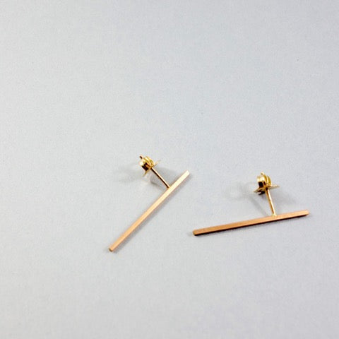 Wendy Faye - Asymmetric Bar Stud Earrings