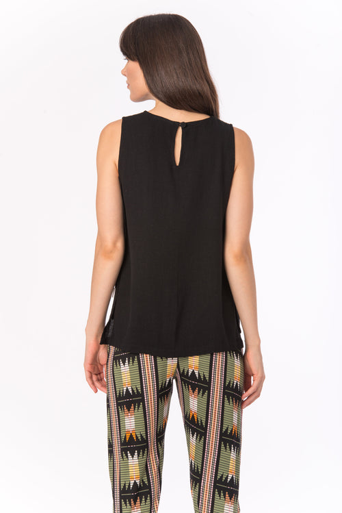 El Paso Top | BEL KAZAN | Black Rayon Crepe Tank Made in Bali