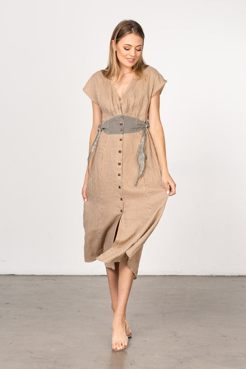 BEL-KAZAN-WILDER-DRESS-CASHEW-STRIPE-BUTTON-UP-TIE-AT-WAIST-FRONT-SLIT-EVERYDAY-WEAR