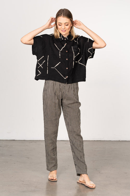 BEL-KAZAN-IMOGEN-TOP-BLACK-STIX-SAIGON-PANT-BLACK-STRIPE-COMFY-FUN-MODERN-SOPHISTICATED-WORK