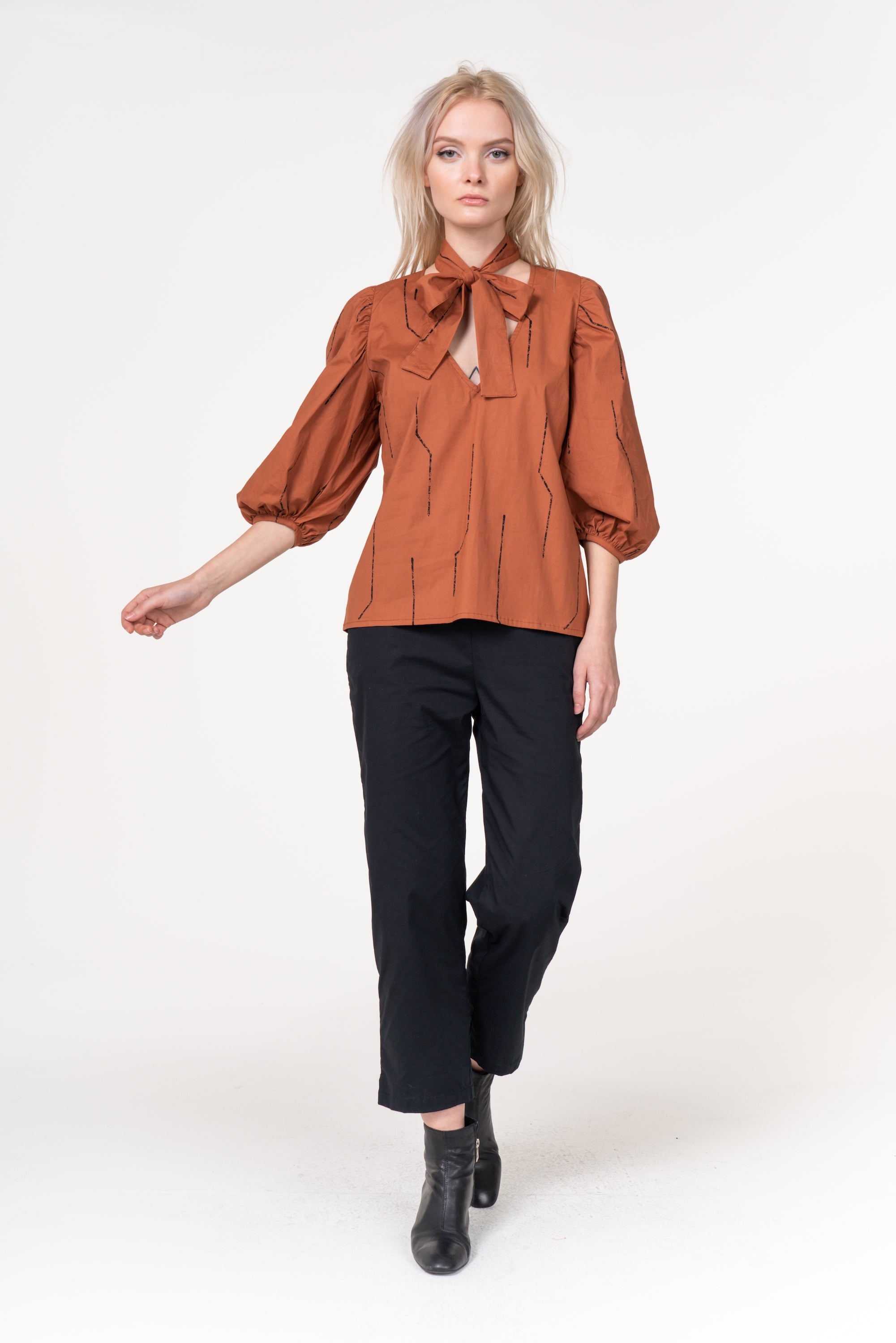 Yeva Top | BEL KAZAN | Mocha Lark | Cotton Poplin | Made in Bali