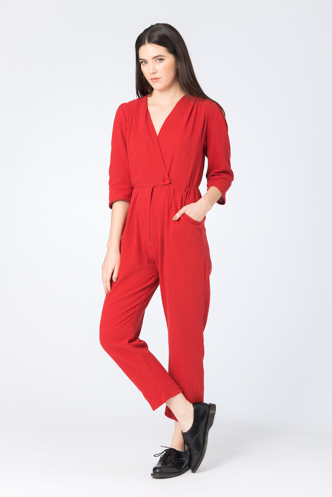 Aquarius Jumpsuit | BEL KAZAN | Cotton Gauze Chili | Made in Bali