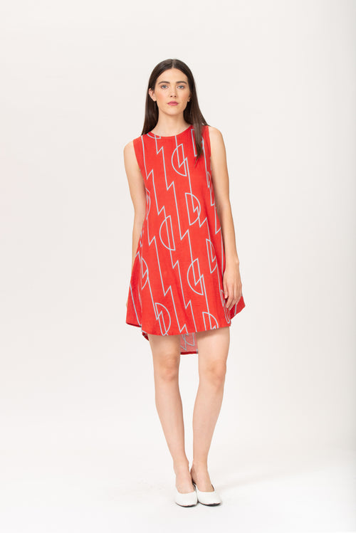 Simone Dress | BEL KAZAN | Rayon Linen | Coral Zig Zag | Made in Bali