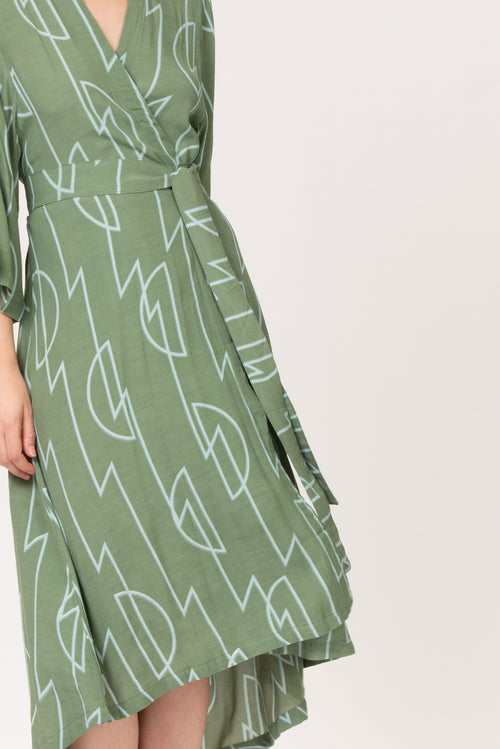 Royya Kimono/Dress | BEL KAZAN | Sage Zig Zag | Rayon | Made in Bali
