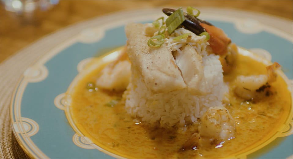 Coconut Red Curry with Fried Fish and Fennel Crab Salad