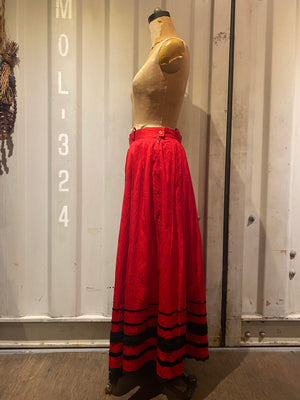 deep red long skirt
