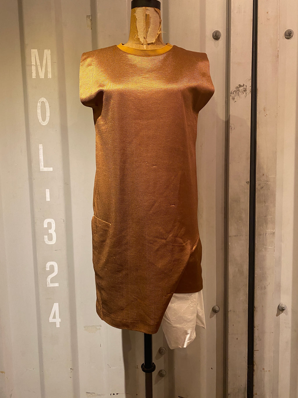 bronze knit dress