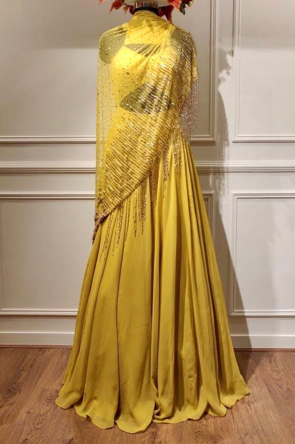 Yellow Geometric Cutout Anarkali
