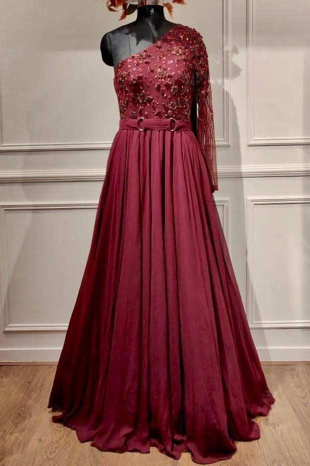 Maroon One Shoulder Anarkali