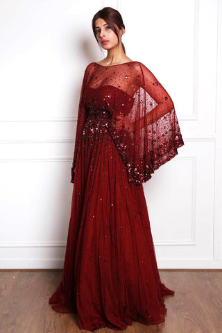 BURGUNDY ONE SHOULDER GOWN