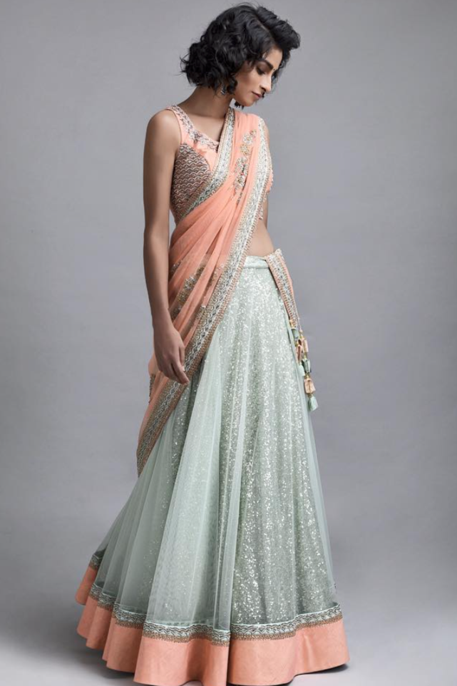 Ice Blue Sequin Lehenga