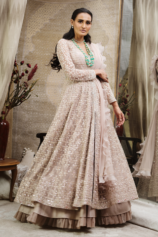 Gold Cold Shoulder Embellished Anarkali Gown