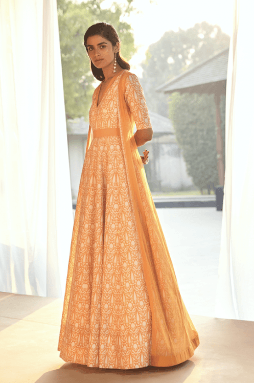 Printed Anarkali with Cape - Sample Sale