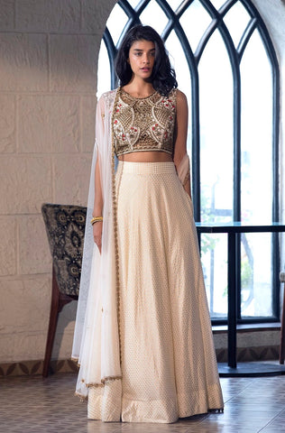The Aqua Printed Lehenga - Ready To Ship