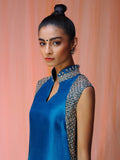 Moroccan Blue Silk Kurta with Pants