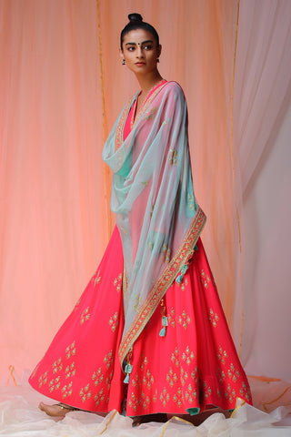 Pearl Pink and Yellow Anarkali