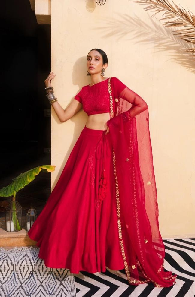 Bohemian Bridal Red & Gold Lehenga Set