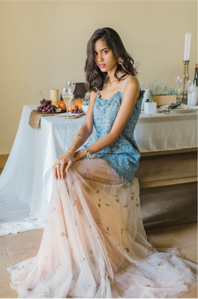 Blue Tasseled Lace Top with Tulle taupe skirt