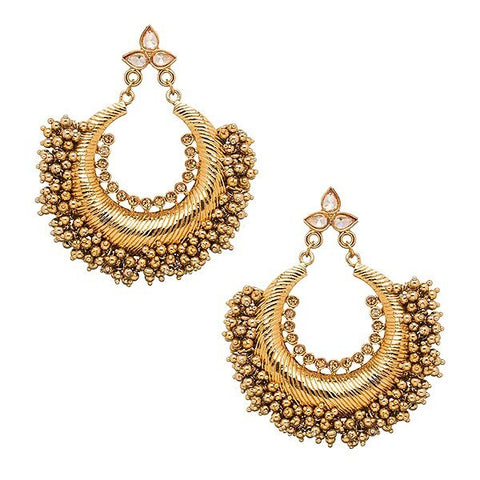 Jhumka hoop earrings in Black and Gold-  Ready to ship