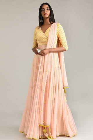 Sage Green Halter Anarkali With Attached Dupatta