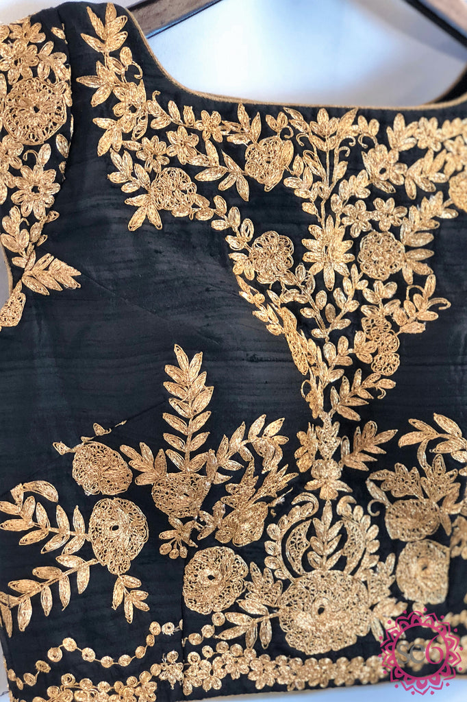 Gold Floral Embroidered Black Blouse- Ready to Ship