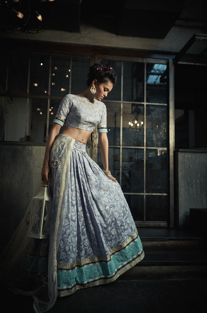 Cross stitch Lilac Rose Lehenga