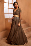 MILITARY GREEN EMBELLISHED LEHENGA