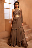 MILITARY GREEN IN-CUT GOLD LEHENGA