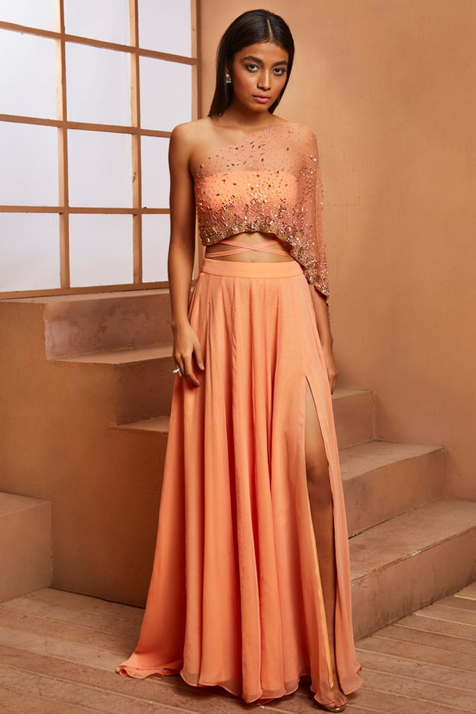 PEACH EMBELLISHED BLOUSE WITH DRAPE AND SLIT SKIRT