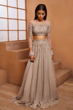 GREY EMBELLISHED BLOUSE & EMBELLISHED LEHENGA