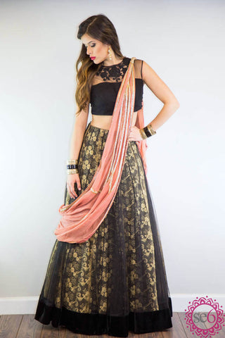 Adorne Rust Embroidered Anarkali - Ready To Ship