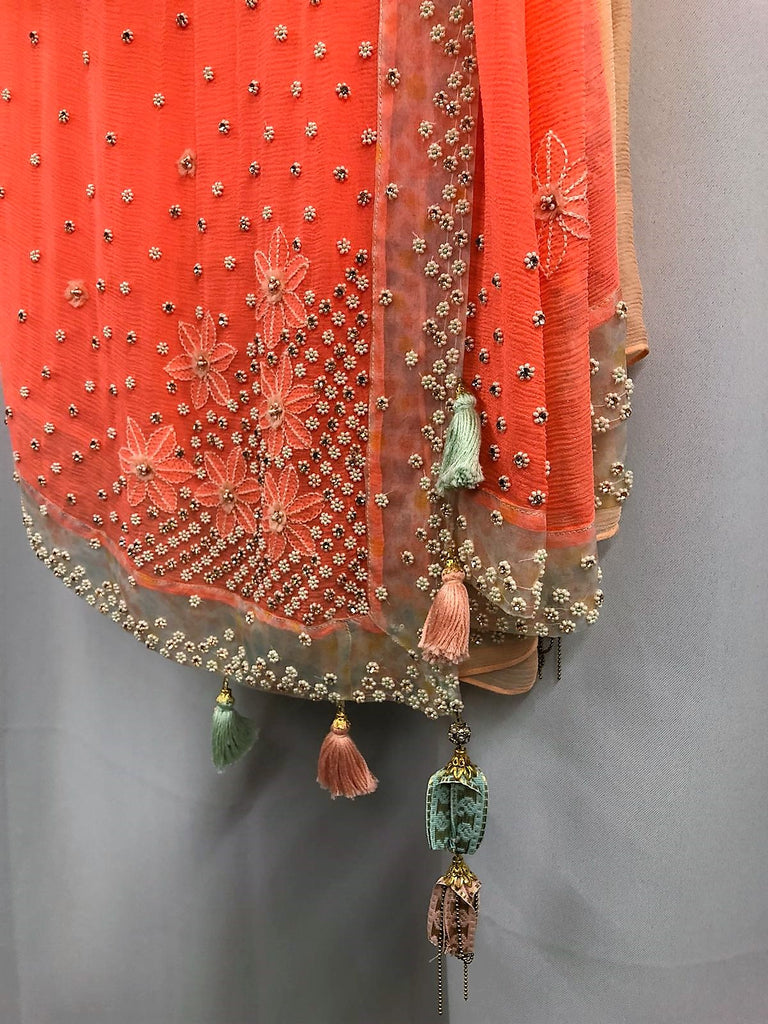 Bright Coral Embroidered Sari with Sky Blue Blouse - Ready to Ship