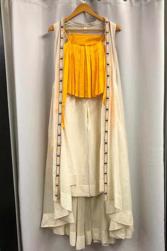 Sunrise Orange Ruffle Top with Cape and Palazzo Pants- Ready to Ship