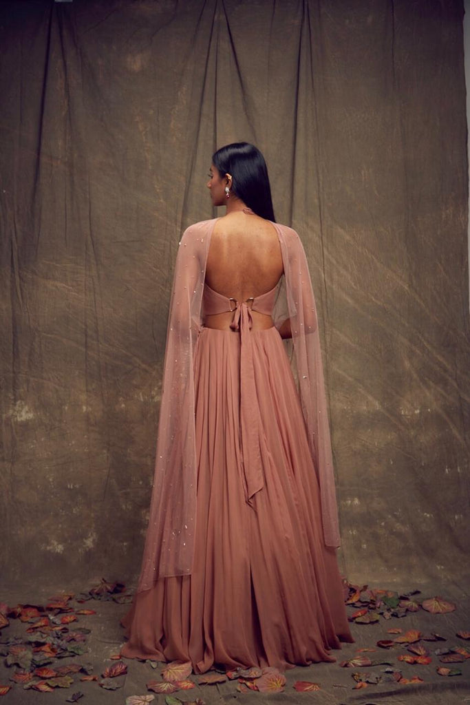 Dusty Rose Lehenga with Geometric Cut Out Blouse