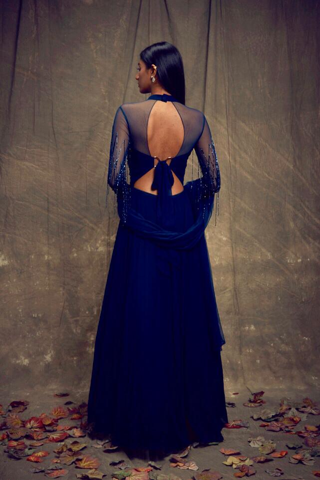 Dark Teal Blue Embellished Gown