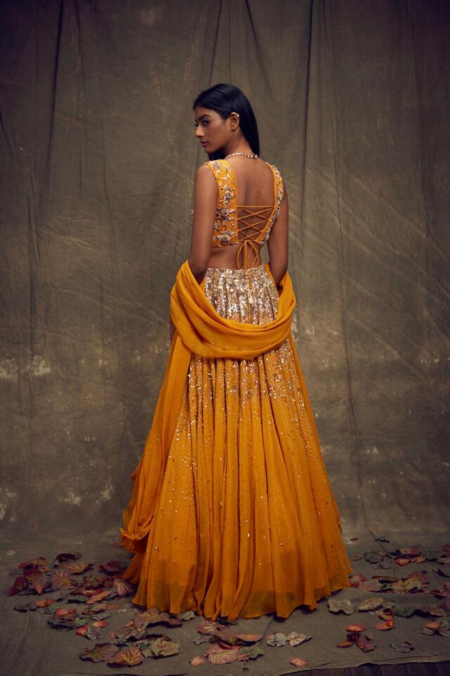 Sleeveless Embellished Mustard Lehenga