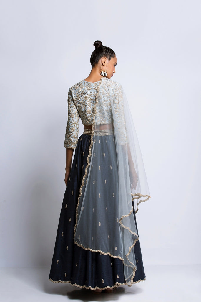 The Powder & Navy Blue Lehenga