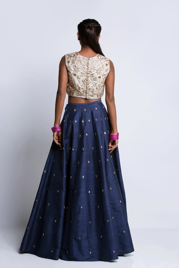 The Grey & Navy Lehenga