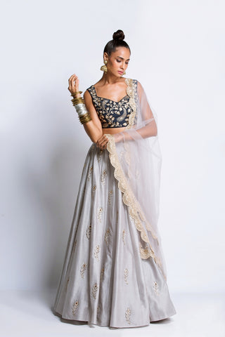 The Powder Blue Brocade Lehenga - Ready To Ship