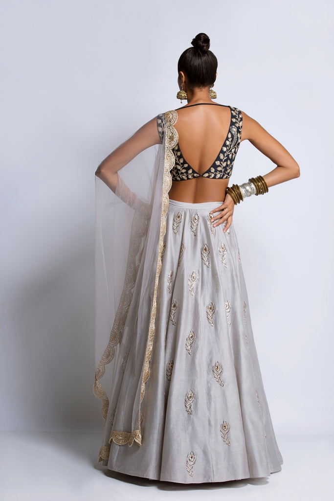 The Navy & Grey Feather Lehenga