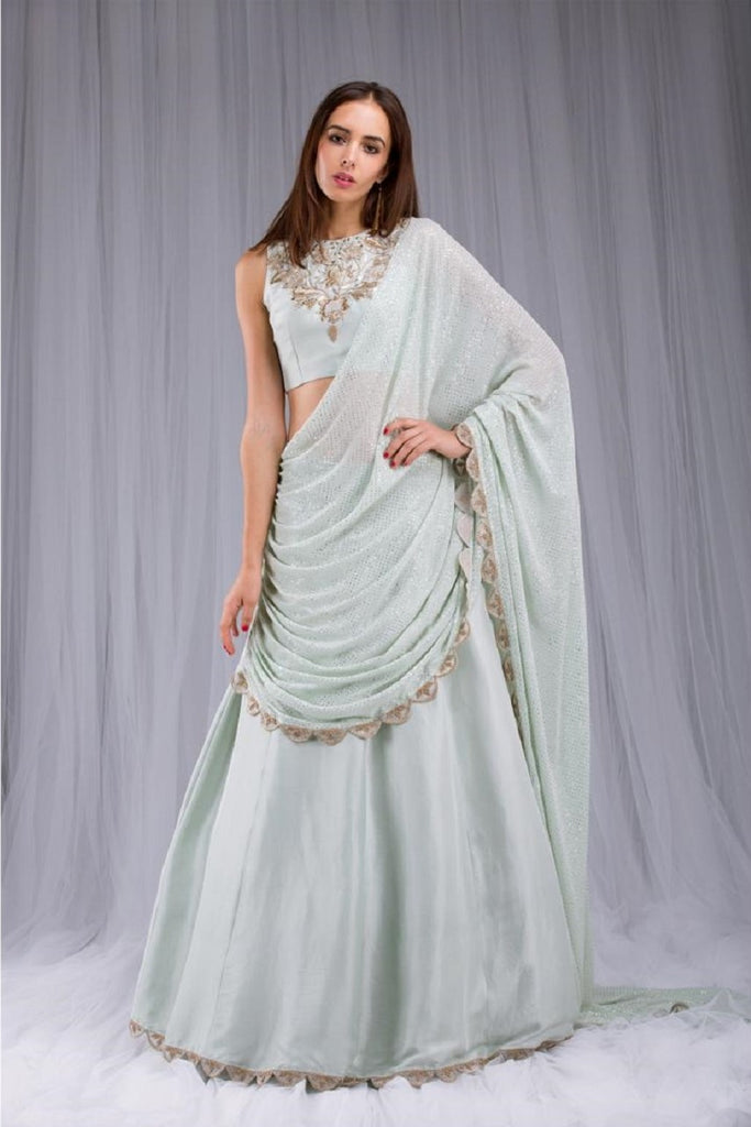 Mint Embroidered Draped Lehenga Saree