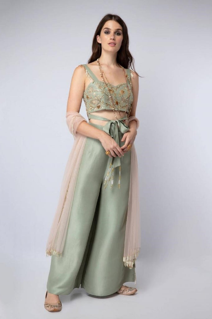 Mint Tie-Up Blouse with Palazzo Pants