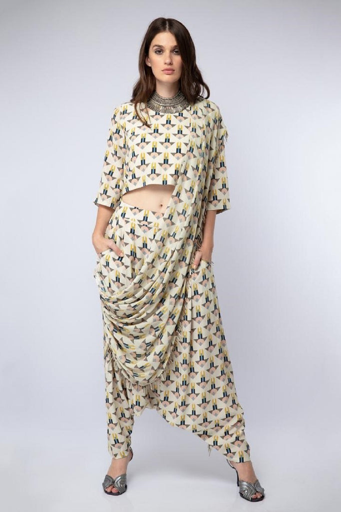 Arrow Print Crop Top with Dhoti Pants