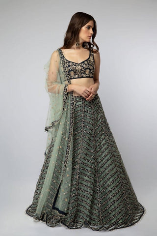 Illusion Off Shoulder Lehenga set