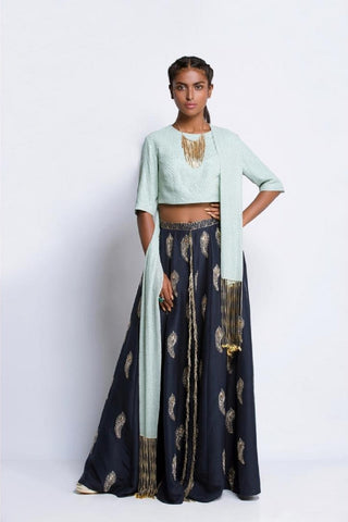 Black Tassel and Khargosh Print Lehenga