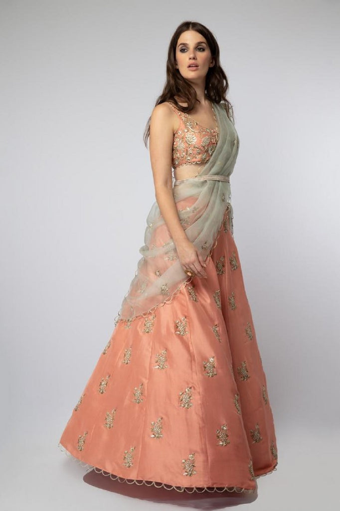 Coral Embroidered Lehenga
