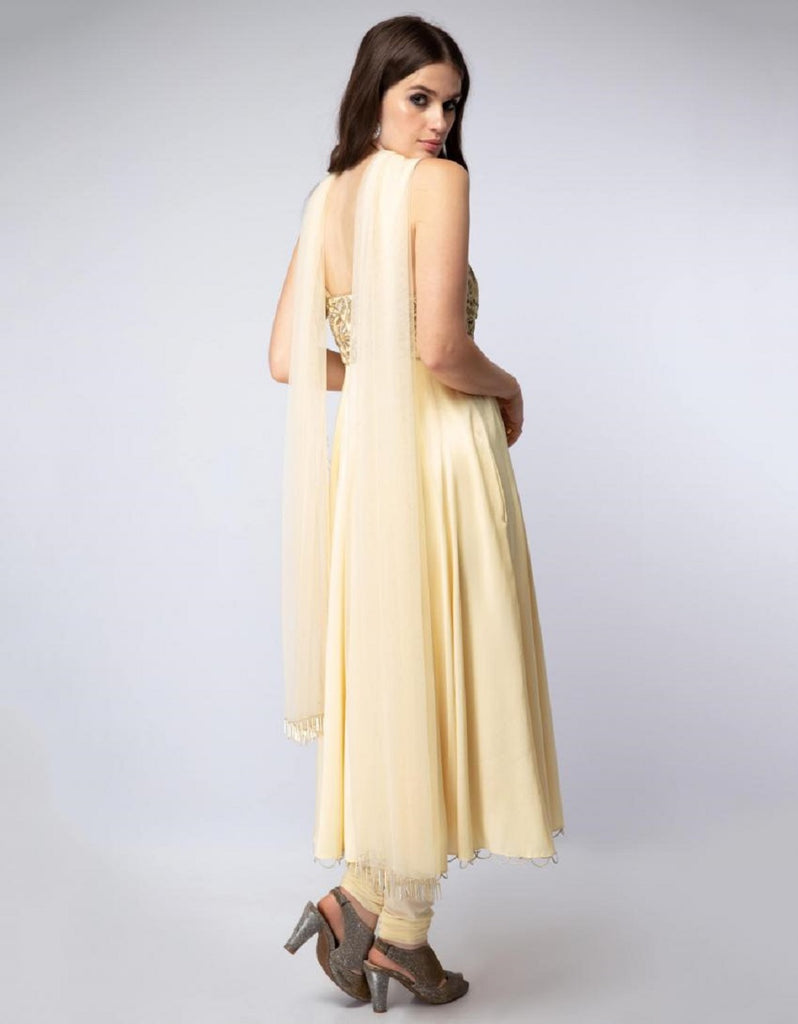 Pale Yellow Embroidered Anarkali