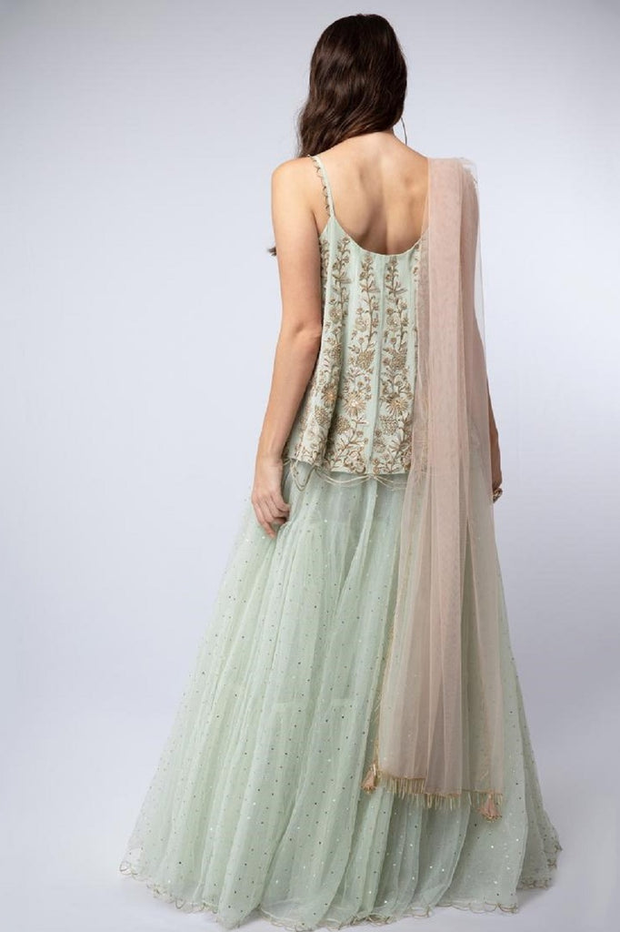 Mint Embroidered Short Anarkali-Lehenga